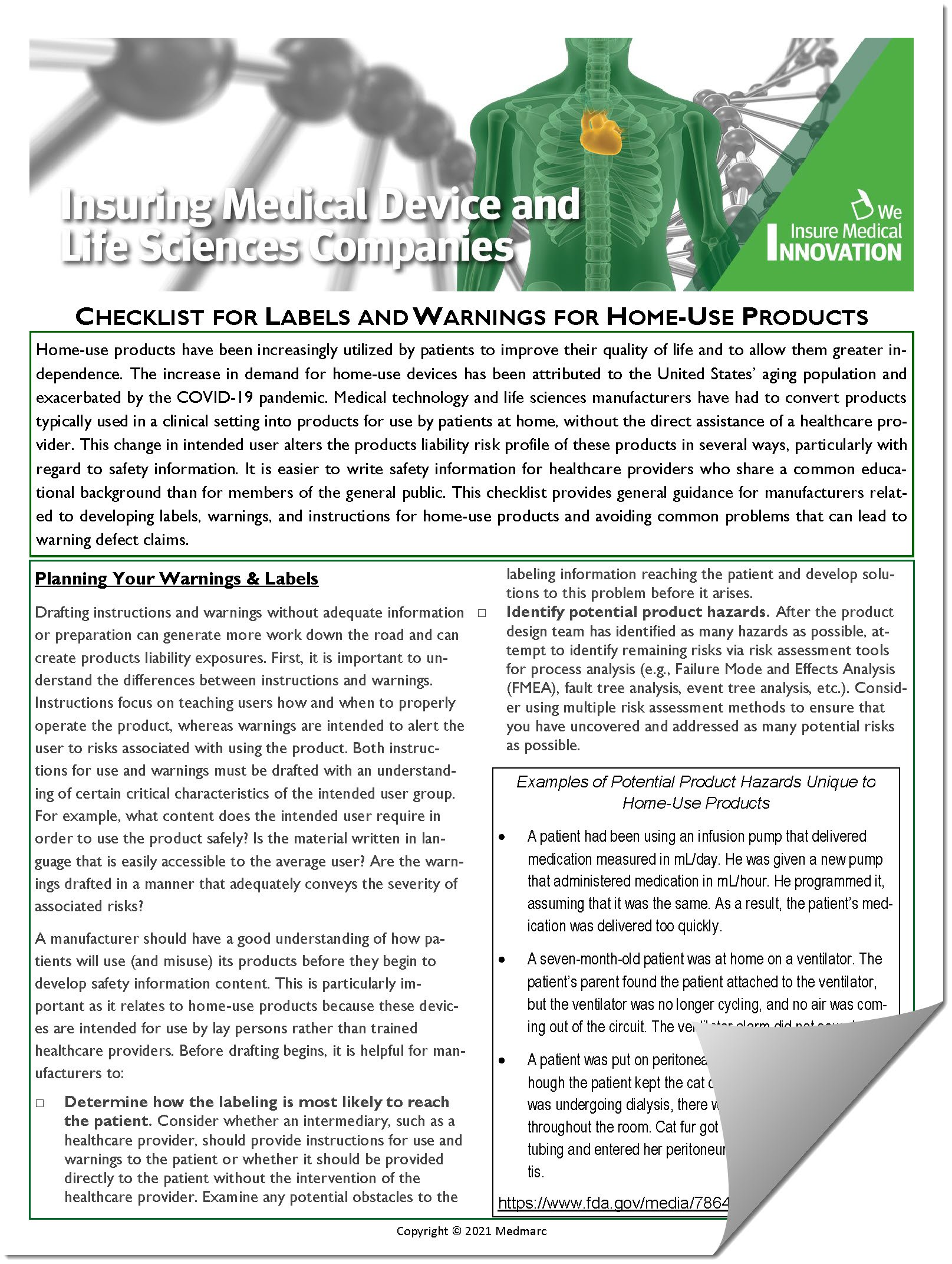 Checklist for Safety Information for Home-Use Products